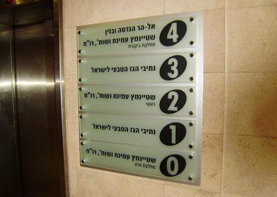 שילוט קומות בכניסה לבניין
